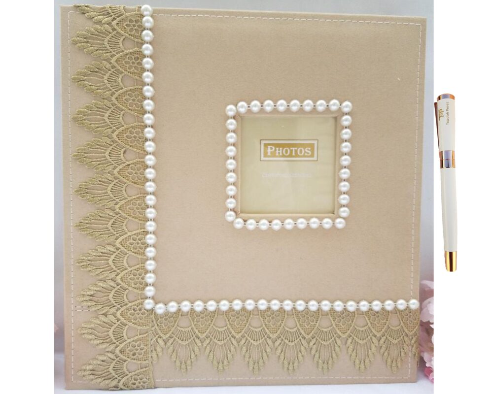 Towdah Perez Pearls & Gold Lace Higher Volume Capacity Large Self Stick Wedding Photo Album. 4x6, 5x7, 8x10, 8x12 Photos + White/Gold Pen