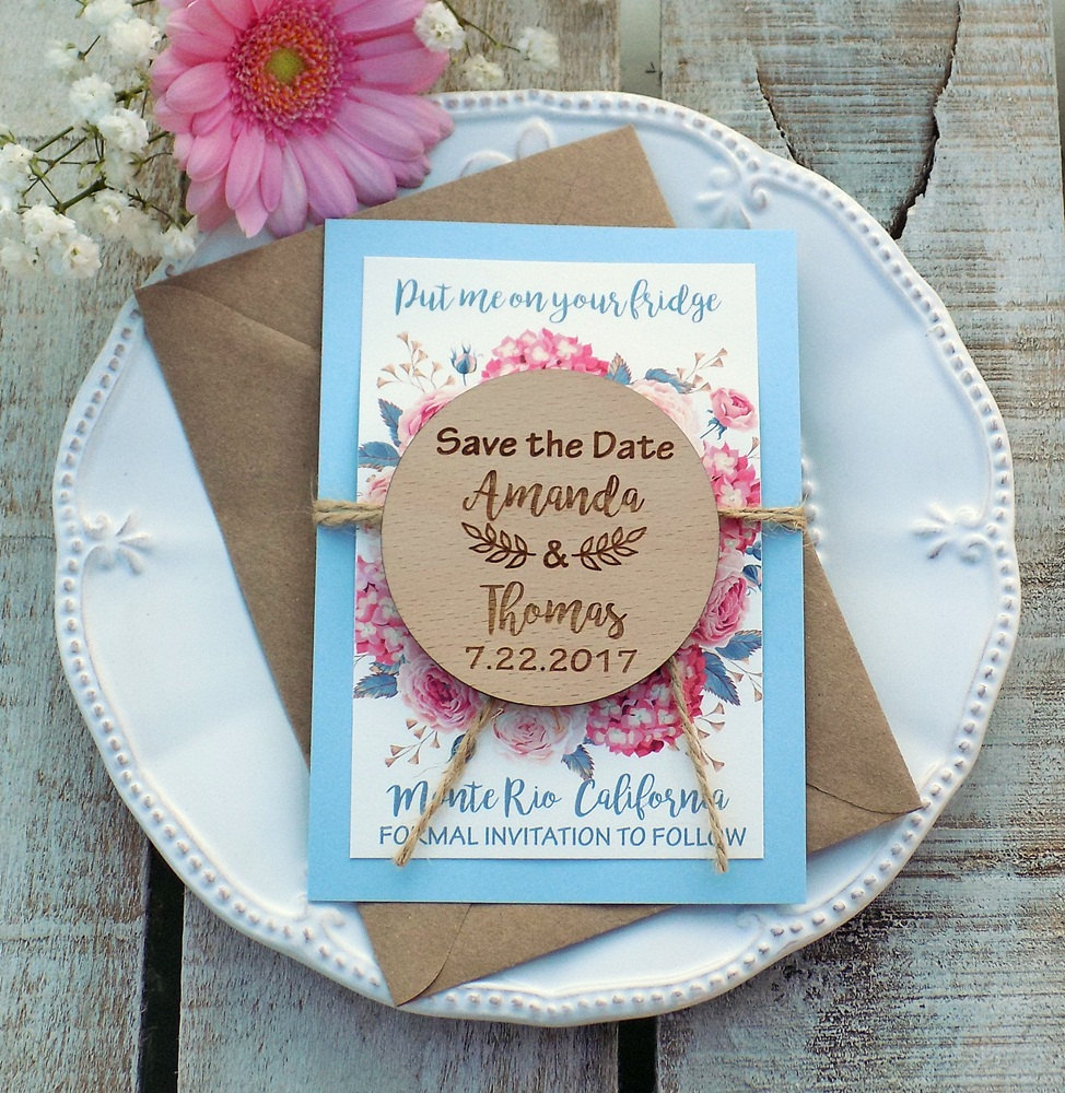 Floral Magnet Wood Save The Date Boho Wedding Vintage Bohemian Watercolor Wreath Dusty Blue Card