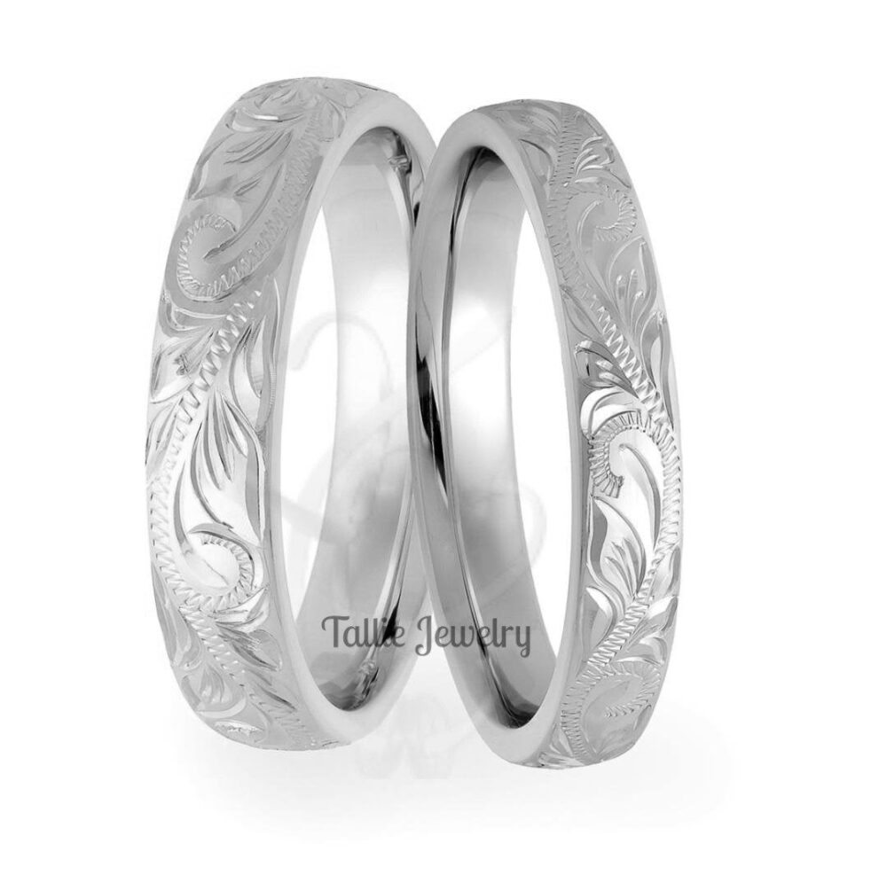 Platinum Hand Engraved Wedding Bands , Rings, His & Hers Bands, Matching Rings Set