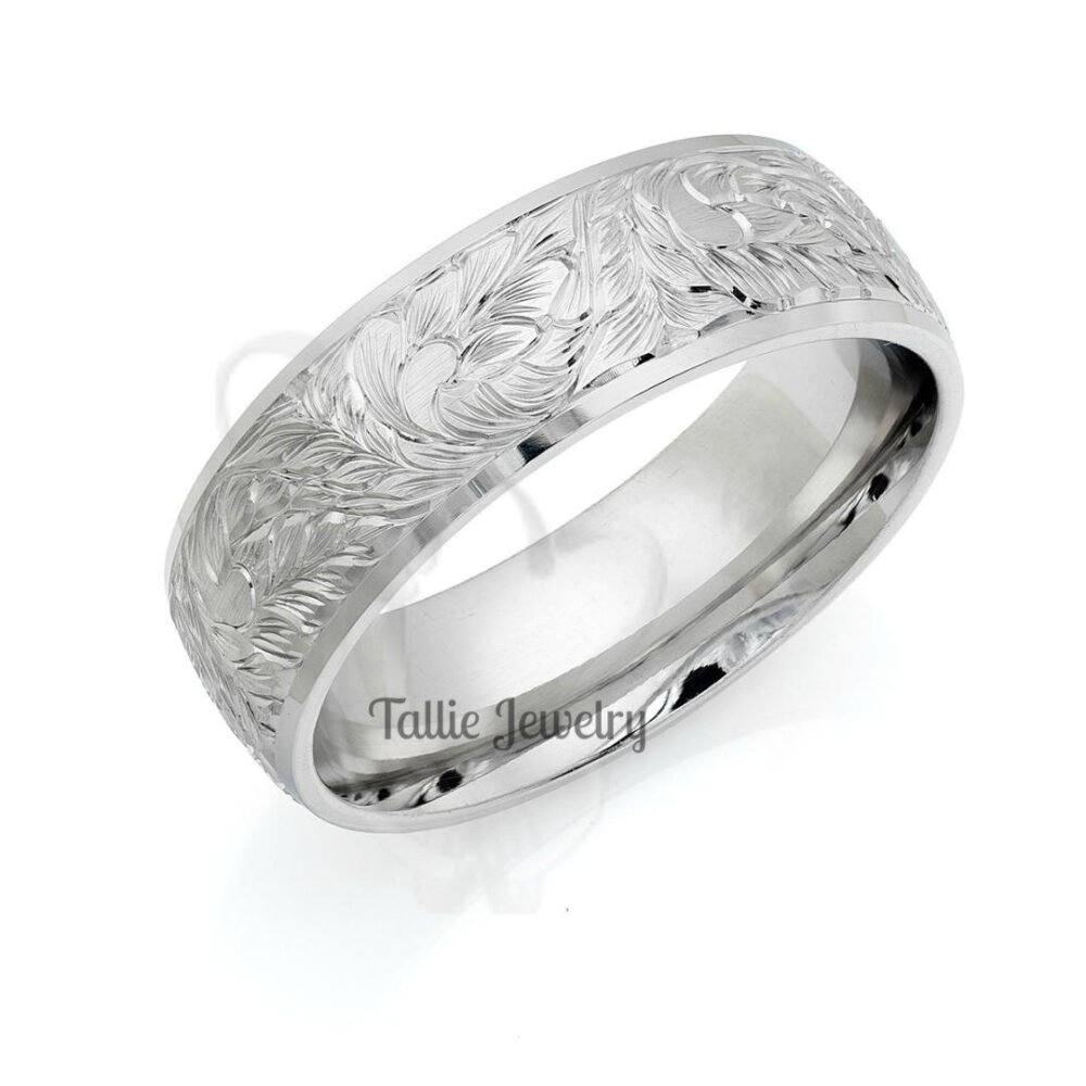 Platinum Hand Engraved Mens Wedding Band, Ring, His & Hers Bands, Rings