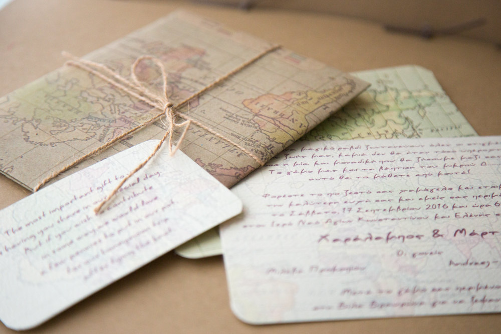 Destination Wedding Invitation, World Map Vintage Invitation Wedding, Travel Set Of 20Pcs
