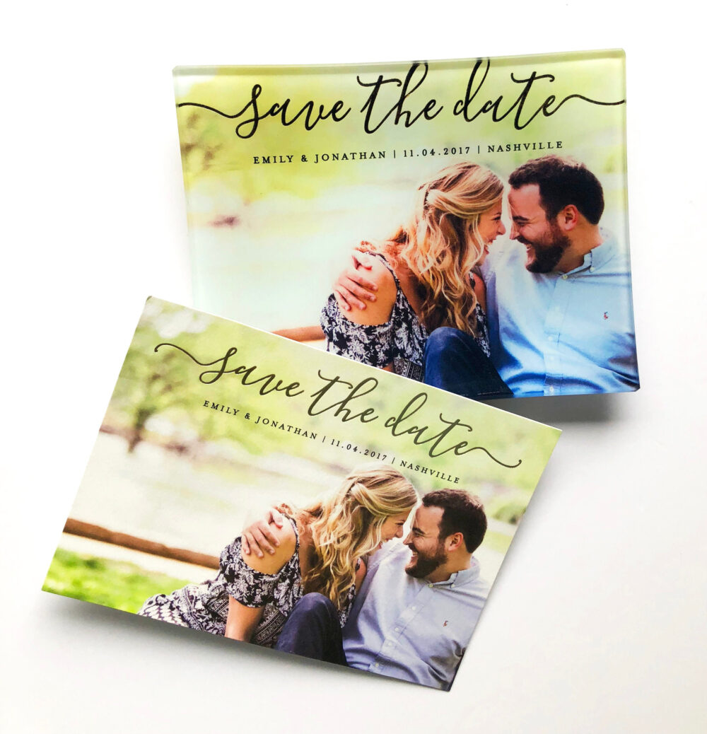 Wedding Invitation On A Glass Tray, Save The Date, Personalized Serving Custom Photo Gifts