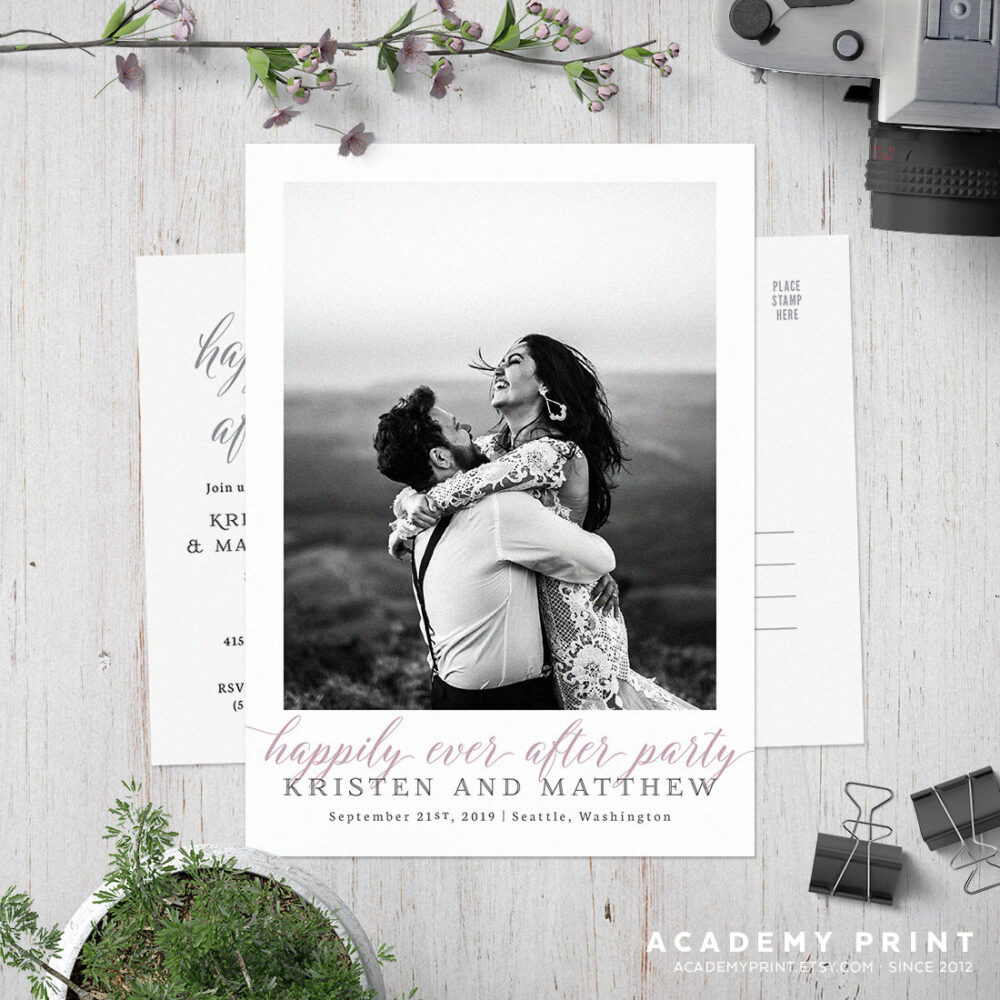 Happily Ever After Postcard Invitation, Post Wedding Photo Card, Printable Elopement Invite, Wedding, Reception