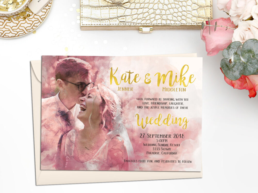 Digital Printable File Gold Personalized Custom Photo Bride Groom Portrait Watercolor Painting Wedding Save The Date Invitation Set Id903In