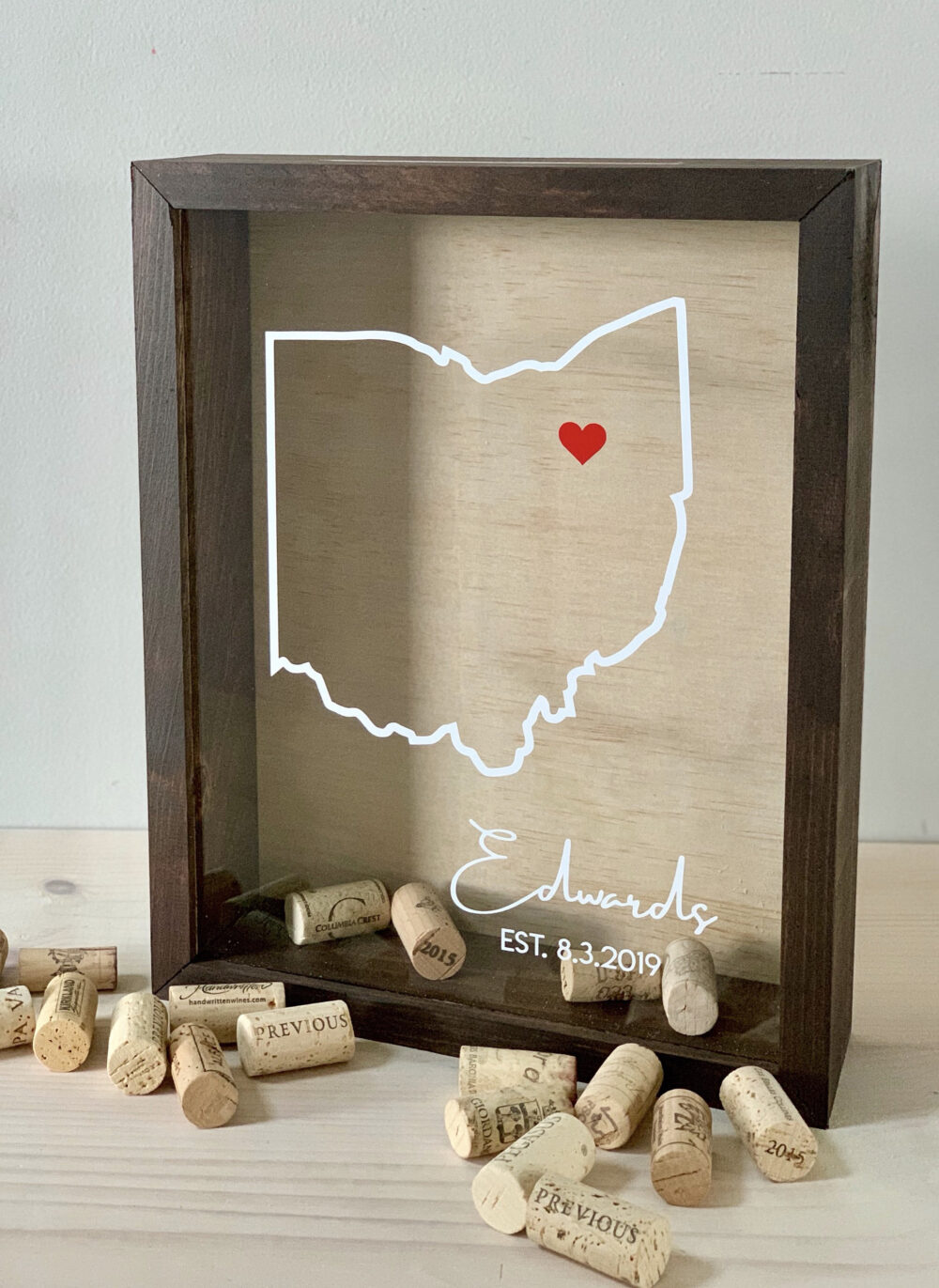 Wine Cork Holder   Wood Guest Book Alternative Holds Corks, Messages, Photos, Tickets & More