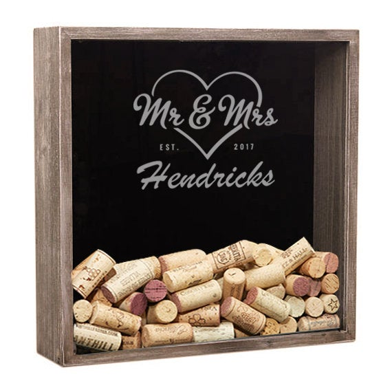 Personalized Shadow Box, Wine Cork Holder, Wedding Guest Book, Gifts For The Couple, Gift, Anniversary Gift