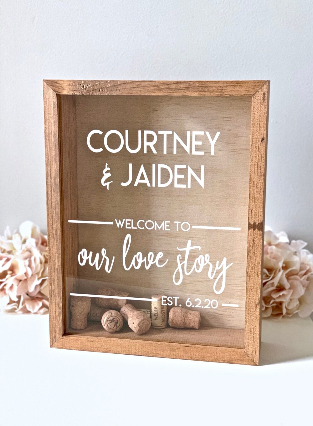 Wine Cork Holder | Sign A Wedding Guest Book Alternative Rustic Wood Shadow Box Display For Corks, Photos, Messages & Much More