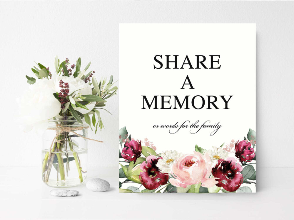 Share A Memory Sign, Floral Share Card, Printed Or Printable Poster Memorial Ideas, Memory Sign