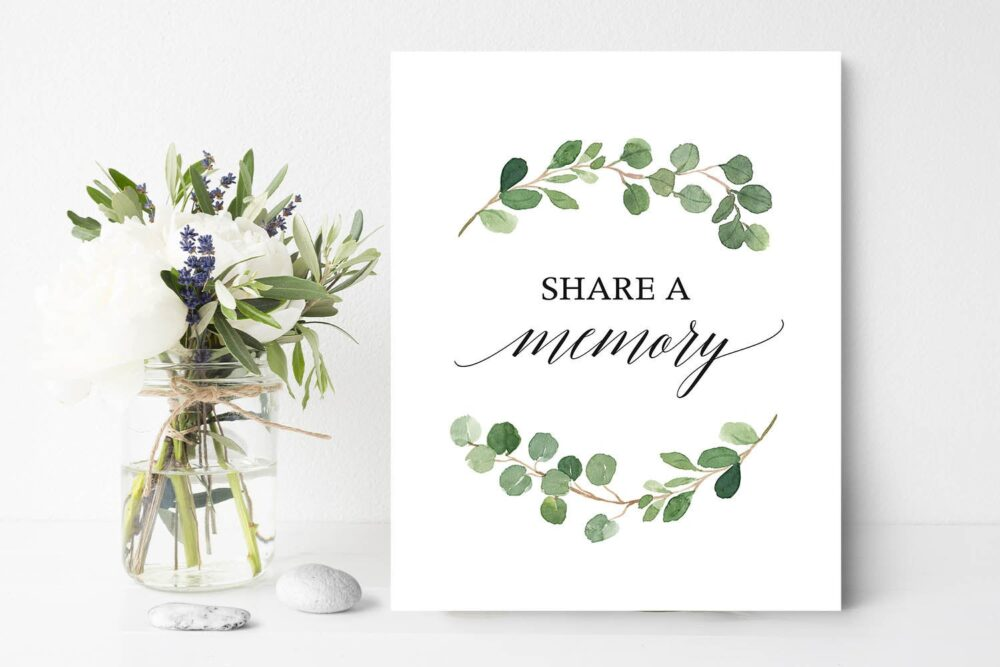 Greenery Share A Memory Sign Funeral Memorial Service 8 X 10 Printed Or Digital