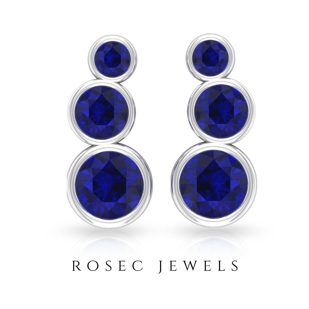 1.08 Ct Blue Sapphire Cartilage Earring, Sgl Certified Gemstone Climber Stackable Crawler Bridesmaid Ear Cuffs