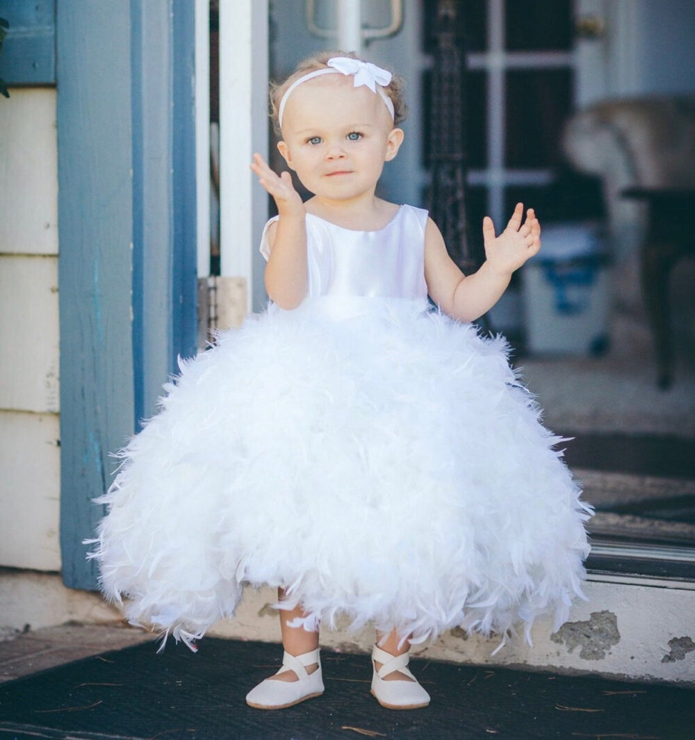 Baby Toddler Girls White Wedding Flower Girl Dress-Baptism-1st Birthday Dress-Satin-Elegant-Sleeveless-Feather Dress