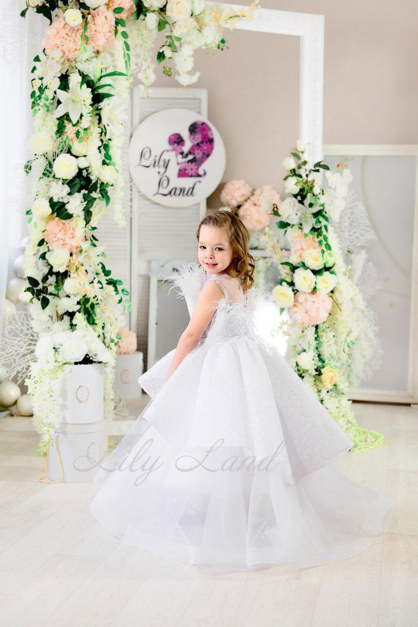 White Wedding Flower Girl Dress With Train Princess Gown Ball Sleeveless Girls Baby White Off