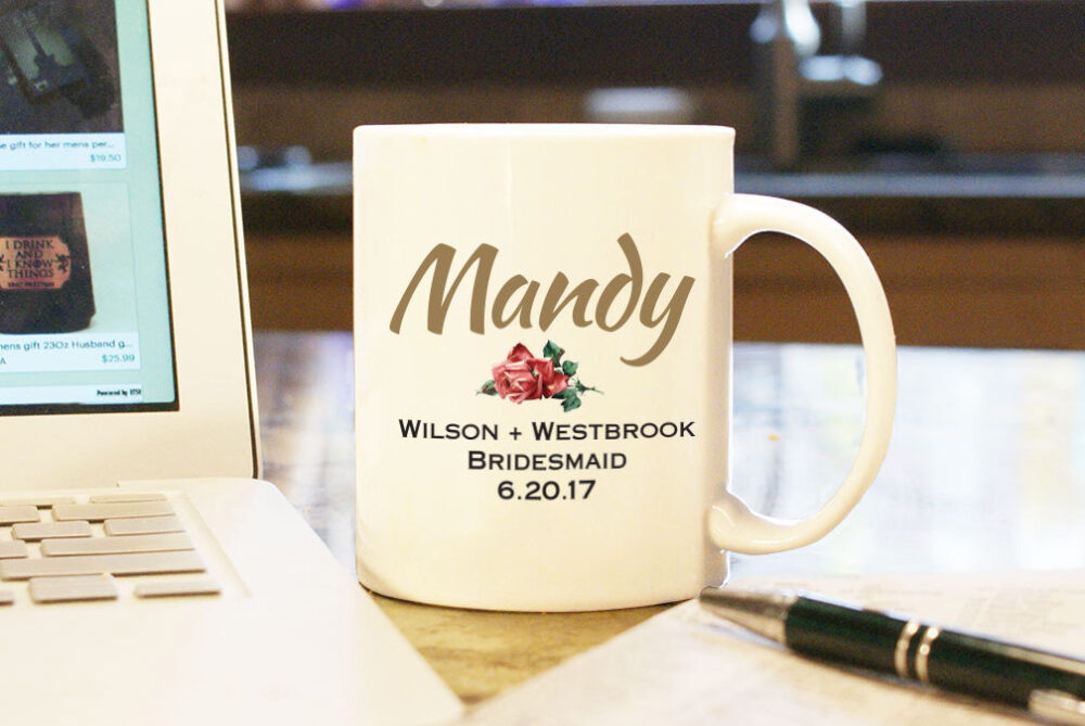 Wedding Coffee Mug Cup - Bridesmaid Custom Name & Color Personalized Art Gift Present Party For Her Bridal With Date & Couple's