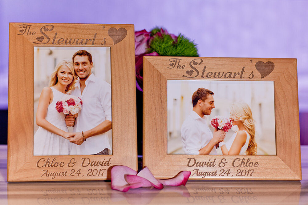 Wedding Picture Frame, Custom Engraved Wood Family Gift For 5x7 Pictures, Personalized Couple Photo Frame Wedding, Engagement, Love