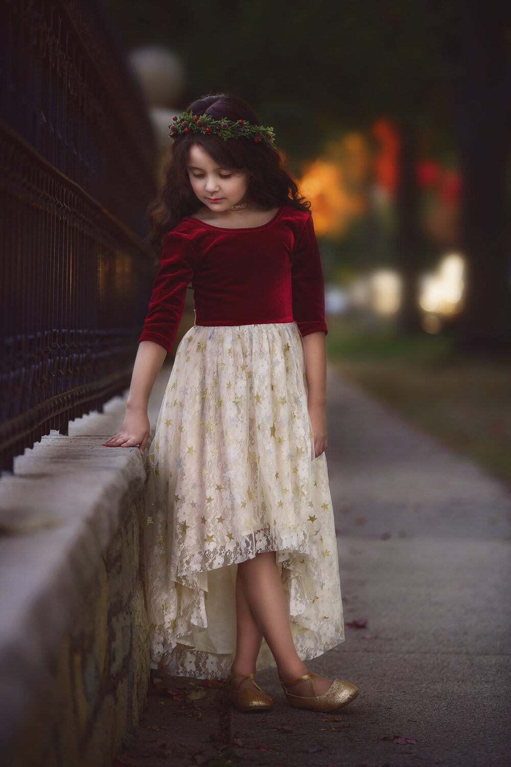 Tween Girl Christmas Dress Red & Gold Holiday Party Toddler Velvet With Long Sleeves Winter Lace Dresses Star Light