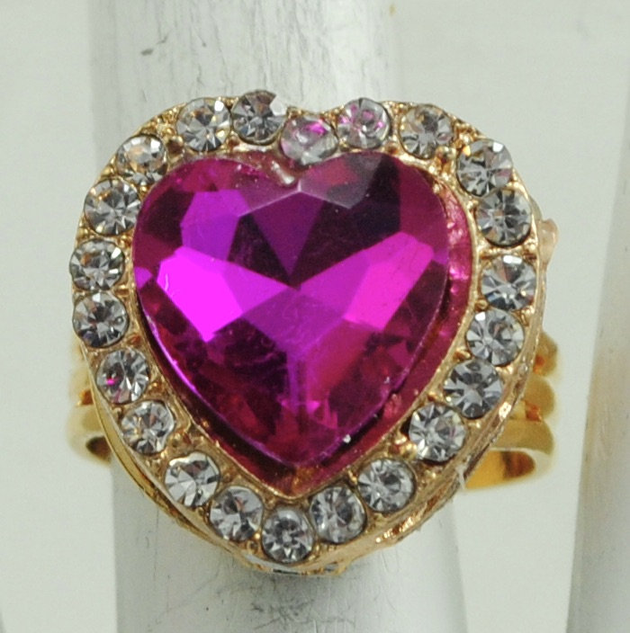 Pink Heart Ring Clear Rhinestones Mini Gift For Her Gold Adjustable Under 20 Usd