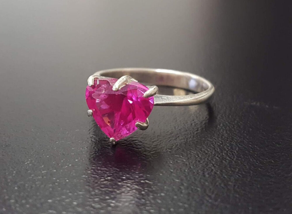 Pink Heart Ring, Created Alexandrite, Alexandrite Love Promise Solid Silver Ring