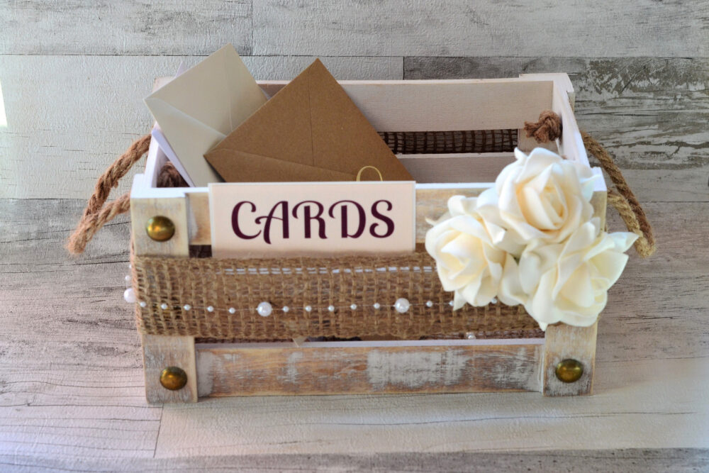 Wedding Card Box - Rustic Box, Guest Box, Advice Shabby Chic Suitcase Holder, Cards Sign, Burlap Flower Decor