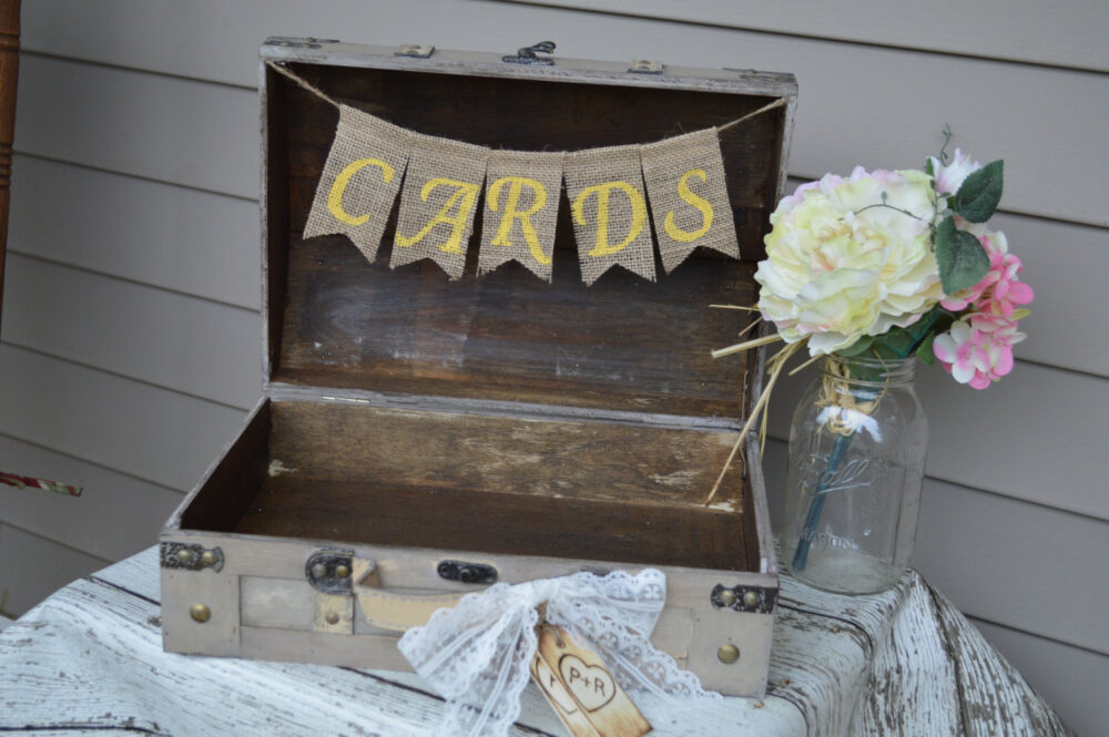 Shabby Chic Card Box, Yellow & Gray Wedding Vintage Trunk | Tr101