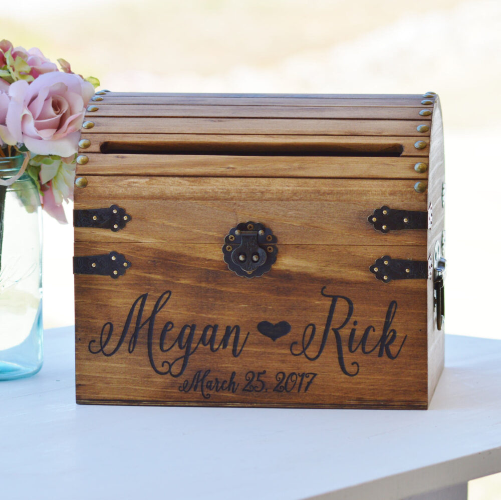 Shabby Chic Wedding Card Box, Rustic Box With Slot, Wood Lock Option, Keepsake Chest, Custom Heart