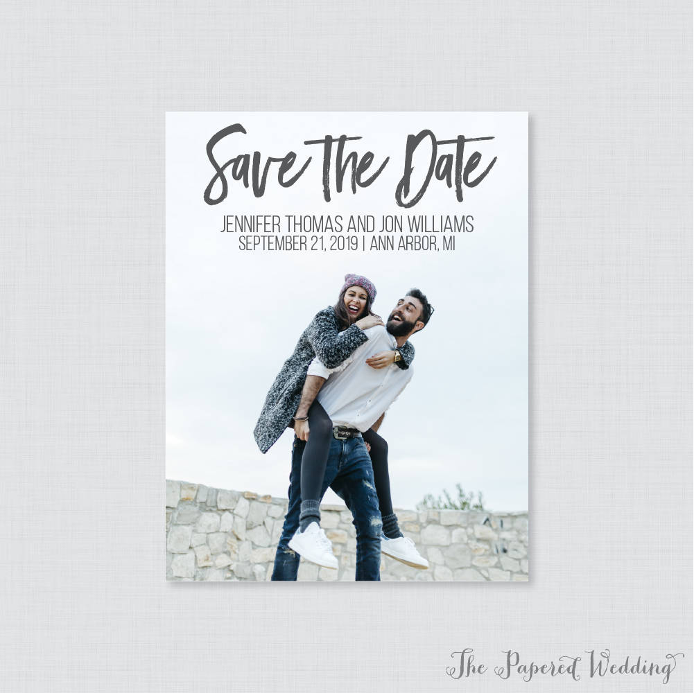 Printable Or Printed Photo Save The Date Cards - Casual Hand-Lettered Our For Wedding, Modern Picture Dates 103