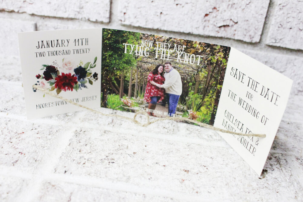 Tying The Knot Save Date With Pictures, Photo Cards, Unique Wedding Announcement, Engagement Card Photo, Tie