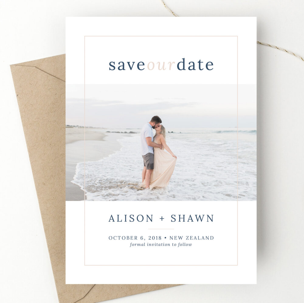 Navy + Blush Photo Save The Date Modern Type Wedding Announcement Elopement Card Save-The-Date Engagement We're Engaged