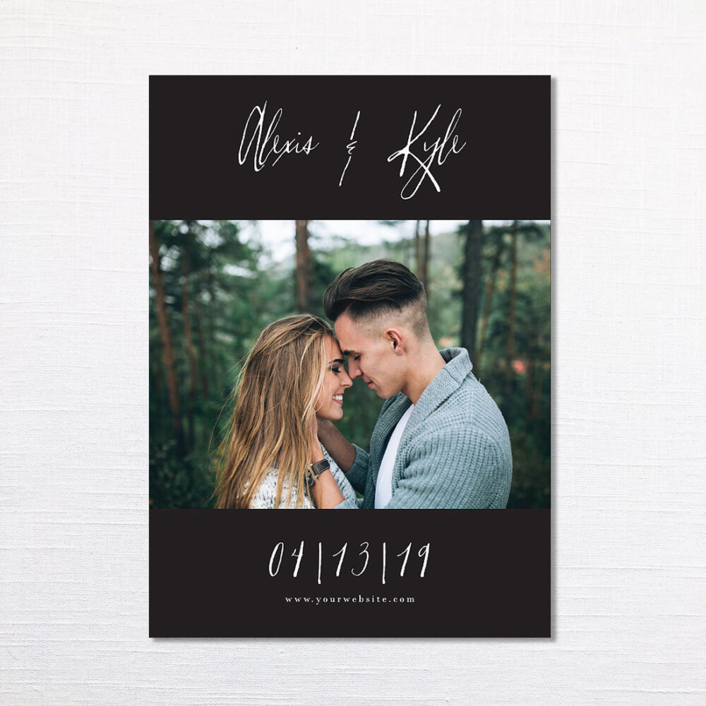 Modern Minimal Photo Save The Date - Boho Black & White Save Date