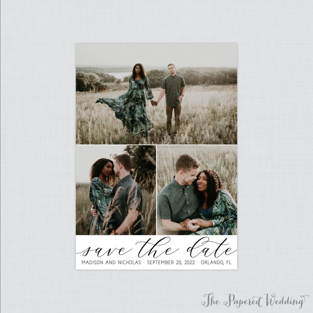 Picture Collage Save The Date Magnets - Three Photo Our For Wedding Vertical Fridge Magnet with Photos 118