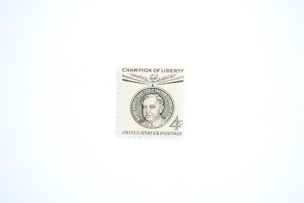 10 Champions Of Liberty Postage Stamps // Unused Ernst Reuter Berlin Gray Neutral Vintage Wedding Postage 4 Cent
