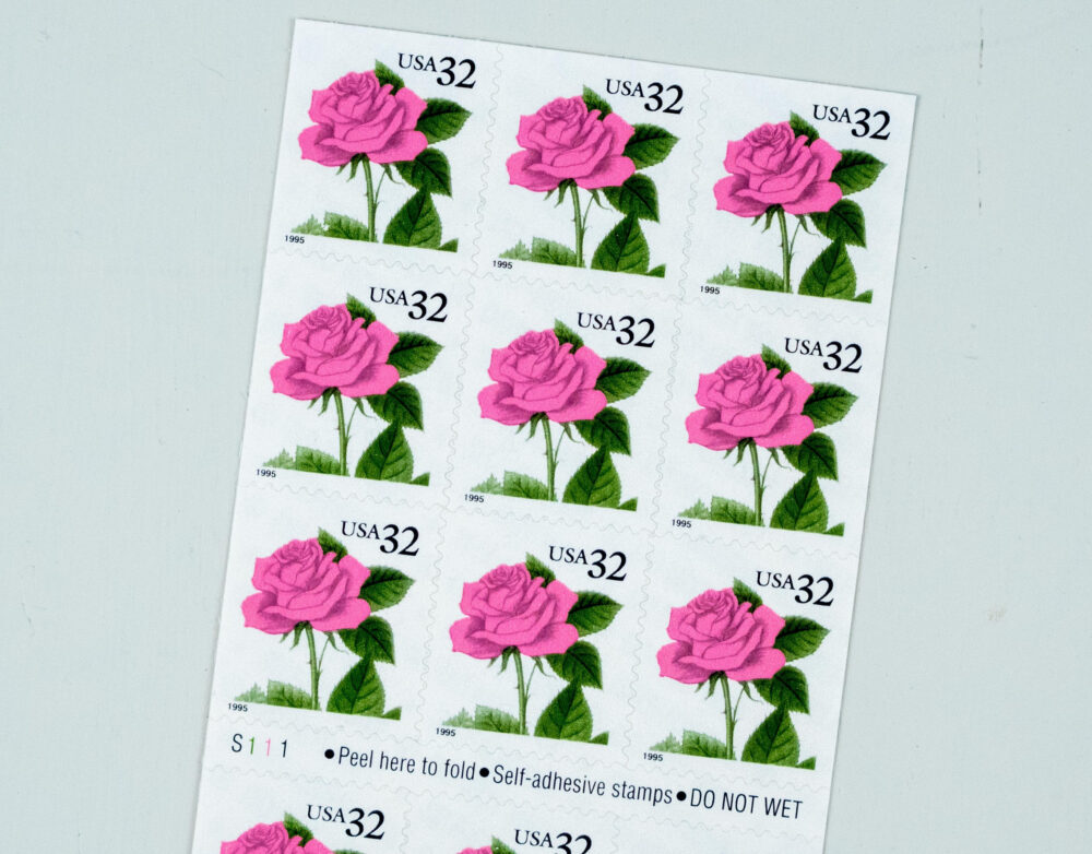 Pink Rose Stamps, Vintage Wedding Postage, Anniversary Stamps