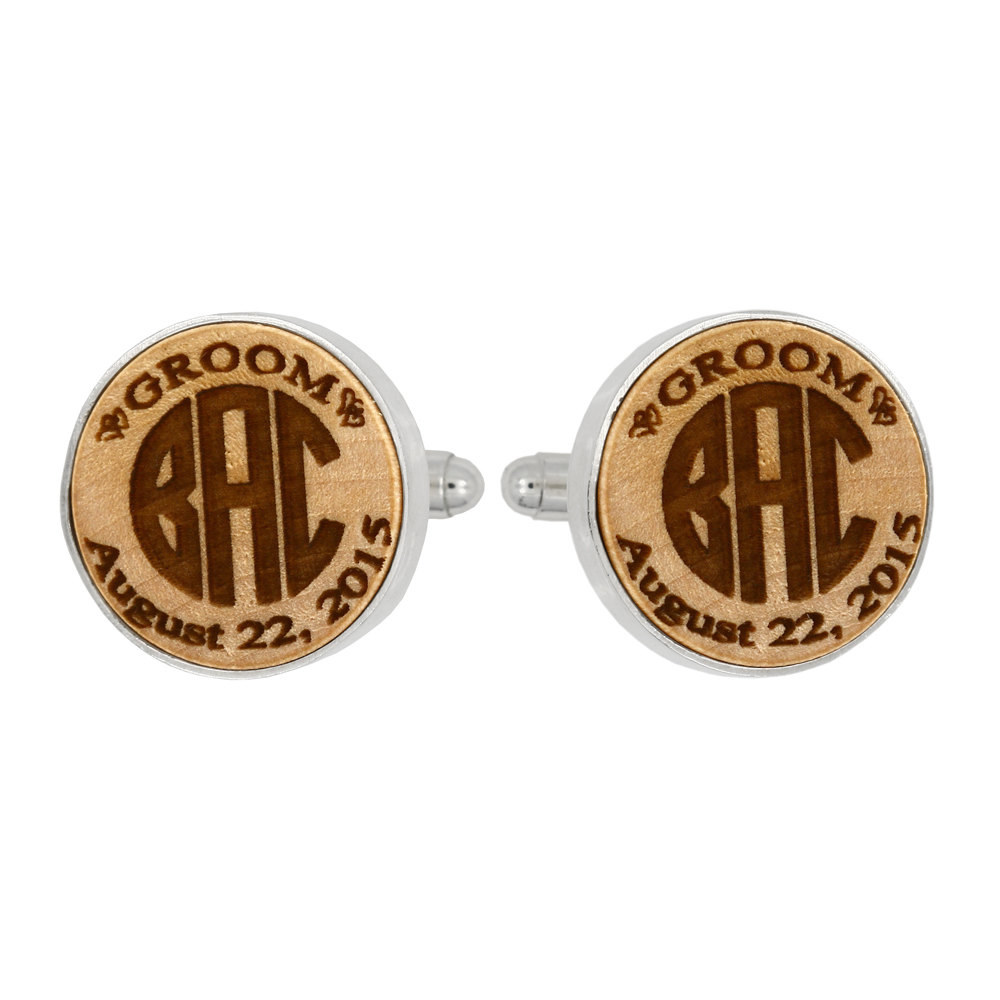 Monogrammed Personalized Round Shape Wood Cufflinks For Groom, Groomsman Gift, Best Man Gift Wedding Gift - Ships in 1-3 Business Days