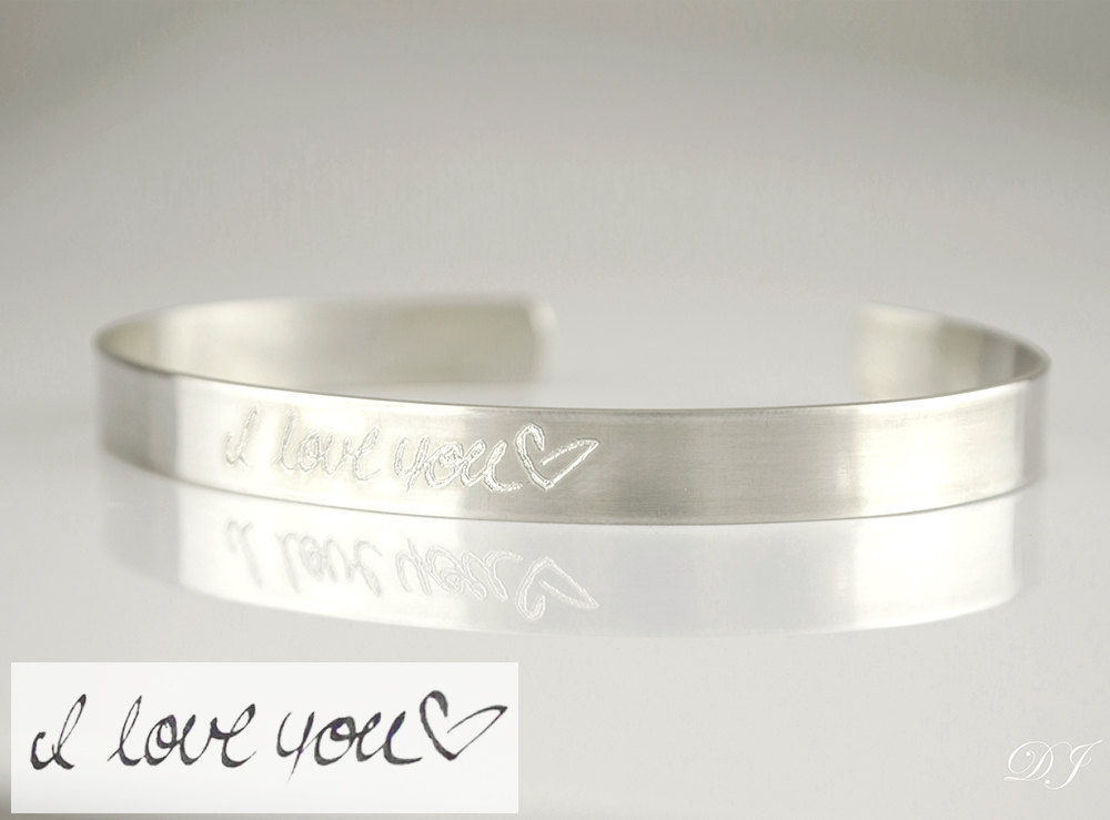 Actual Handwriting Cuff Bracelet For Her, Personalized Signature Bracelet, Silver Or Gold Wedding Jewelry, Signature Cuff, Memorial Bracelet