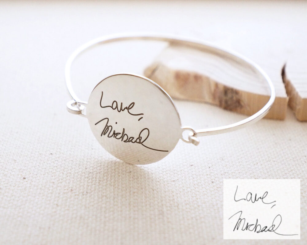 Actual Handwriting Disc Bangle • Engraved Keepsake Signature Bracelet Sentimental Gift Gift For Grandma Bm28