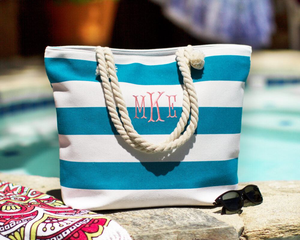 Personalized Bridesmaids Gift Tote, Monogrammed Tote Bag, Bridal Party Beach I Do Crew Bag