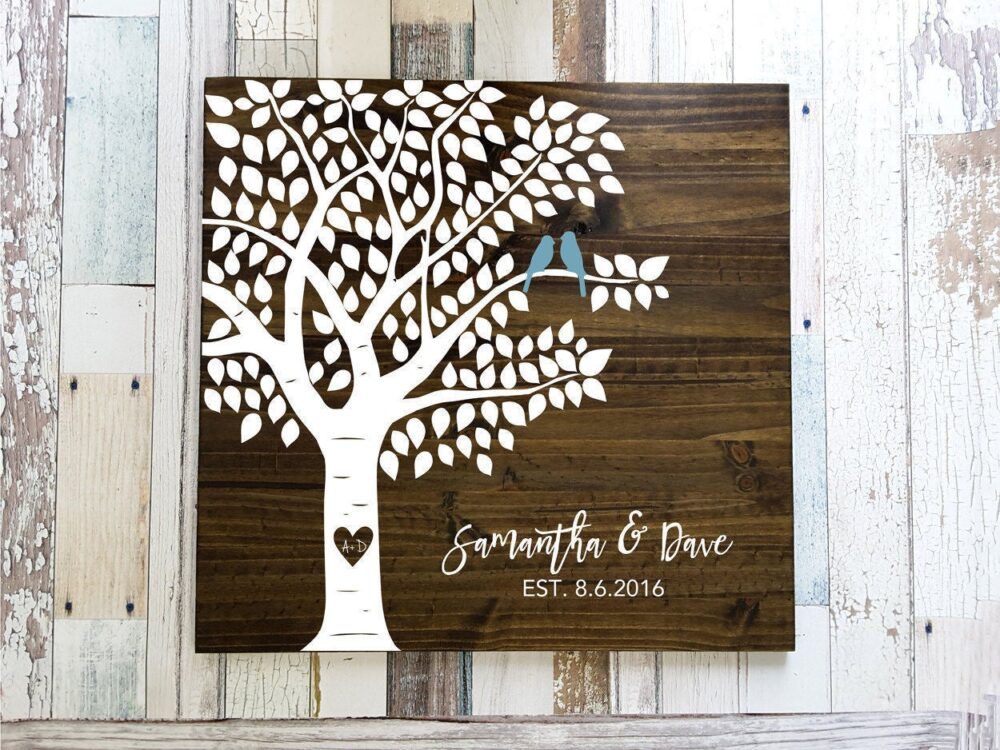 Tree Guest Book, Book Tree, Leaf Wedding Wood Leaves Guestbook, Guestbook