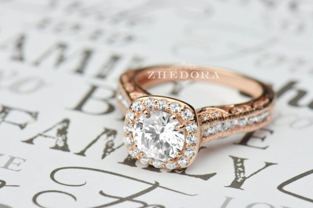 Rose Gold Round Engagement Ring in 14K/18K, Forever One Moissanite Ring, Engraved Halo