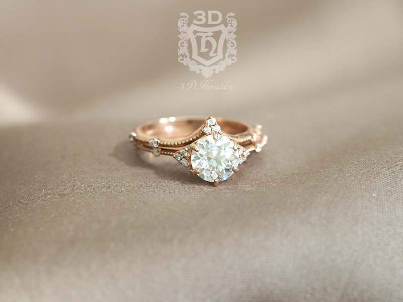 Moissanite Ring, & Diamond Engagement Ring Set Made in Your Choice Of Solid 14K White, Yellow, Or Rose Gold