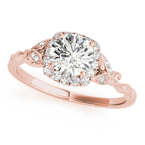 Rose Gold Flower Ring. Floral Engagement Moissanite Ring