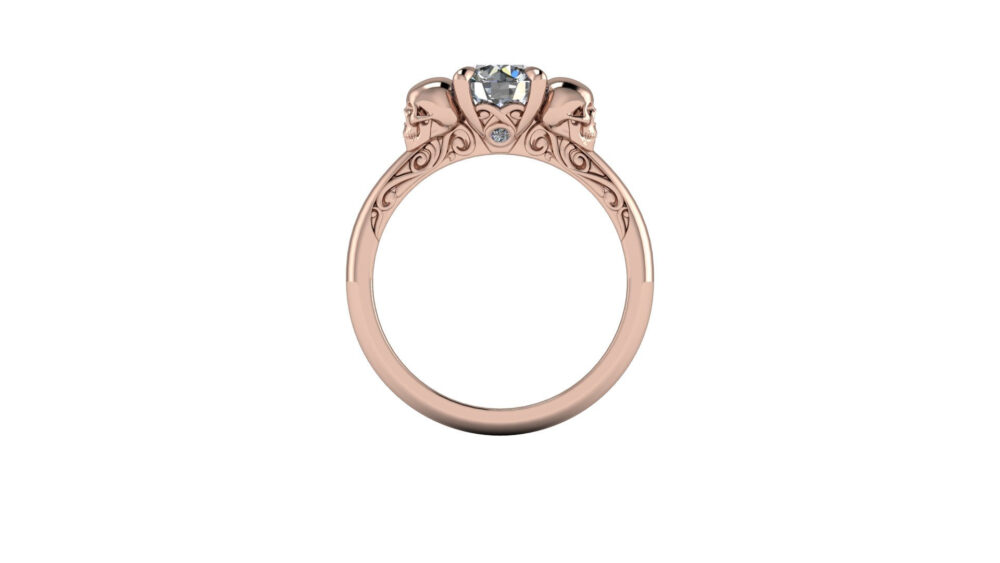 Dita Skull Solitaire | Diamond Engagement Moissanite Ring