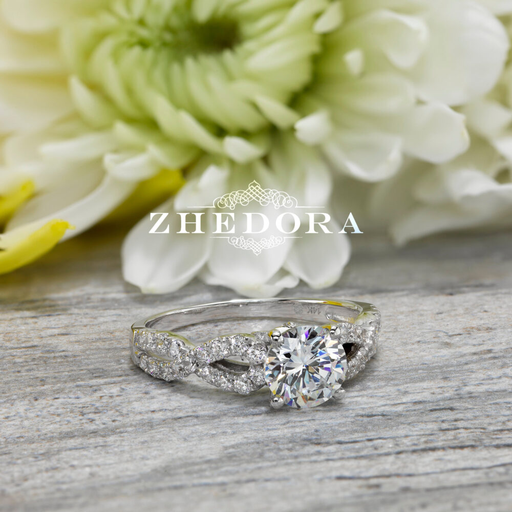 Forever One Moissanite Ring 1.45 Ct Round Cut Engagement Bridal Band Solid 14K/18K White, Unique Wedding Ring, Anniversary