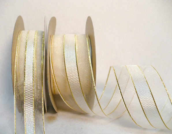 Cream Gold Ribbon, Wedding Favor, Gift Wrap, Cream Sheer Organza Design Satin Center With Metallic Lines 25 Yards