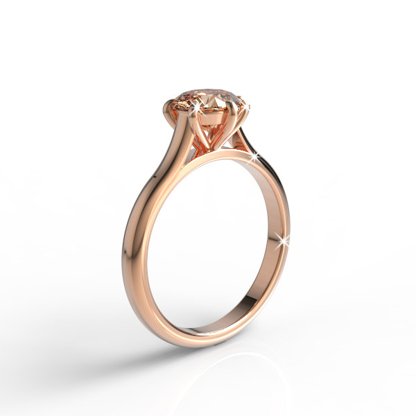 14K Rose Gold Engagement Ring With 7 Mm Round Natural Morganite, Wedding Ring, Band, Solitaire Exclusive Akr-474-2