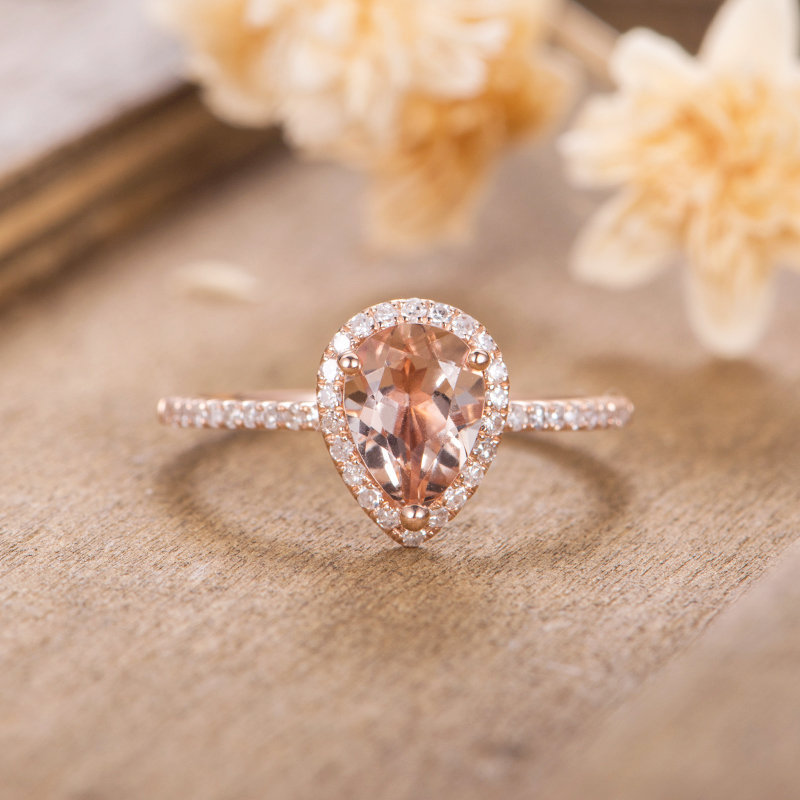 Rose Gold Engagement Ring Morganite Pear Shaped Halo Diamond Women Bridal Wedding Antique Half Eternity Anniversary Gift For Her