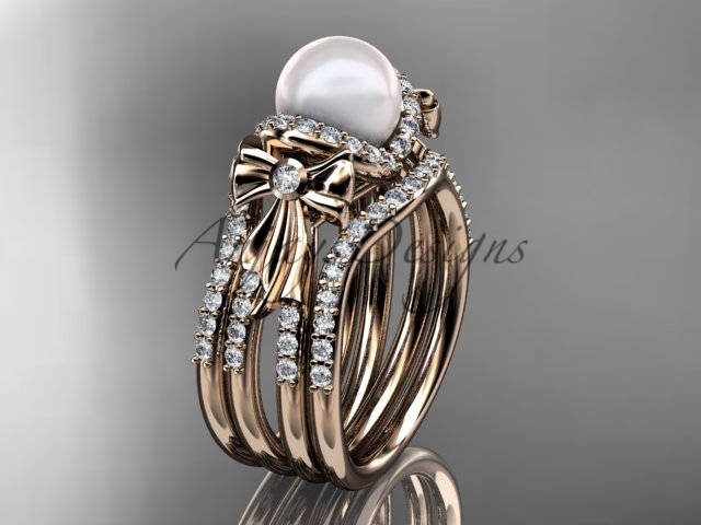 Rose Gold Engagement Ring Simple Elegant Wedding Rings For Women Pearl Double Band Diamond Bow Ap155S