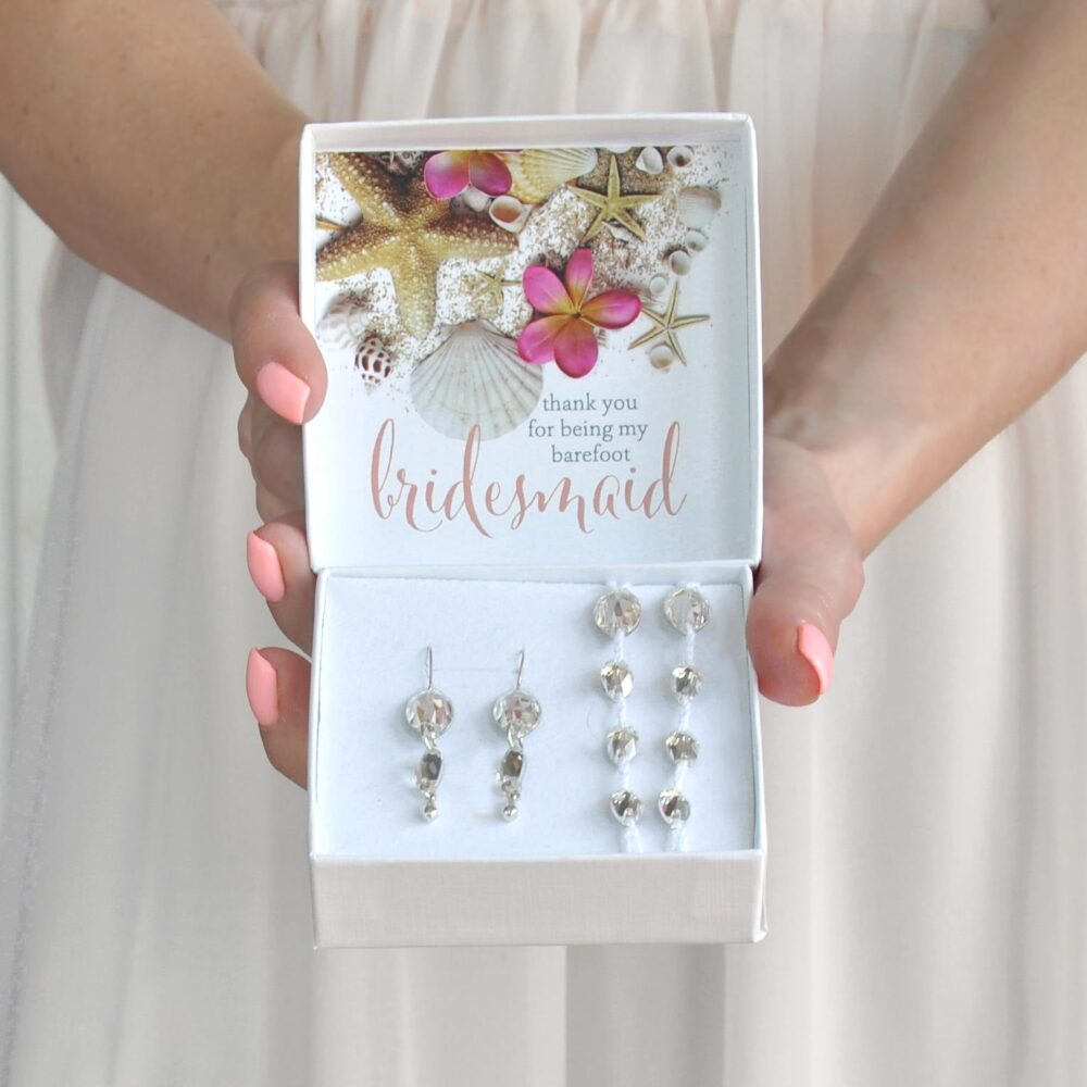 Bridesmaid Thank You Gift - Beach Wedding Gift Box - You For Being My Barefoot Bridesmaid - Sandals - Foot Jewelry