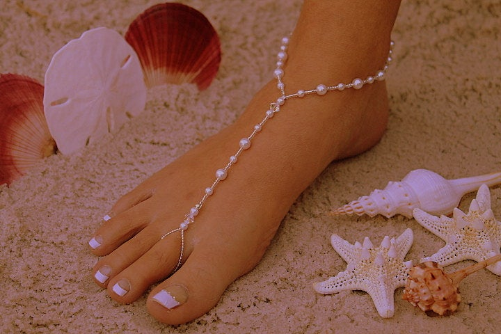 Barefoot Sandal - Simply Elegant White Pearls & Silver Beads. Wedding Shoes, Bridal Shoes, Beach Sandals, Pearl Sandals