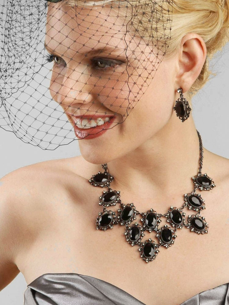 French Netting Birdcage Face Veil - Black