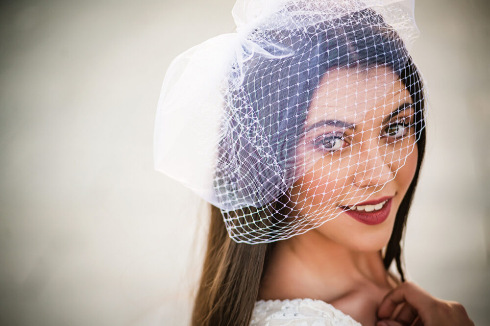 Double Birdcage Veil, French Netting, Standard Tulle Bridal Blusher Veil Lucia
