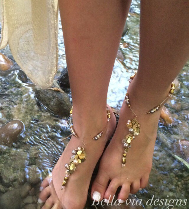 Beaded Barefoot Sandals With Champagne & Cream Beads Accent Crystals